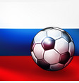 soccer ball on russian flag background vector image vector image