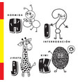 spanish alphabet ant question giraffe kiwi vector image vector image