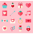 Valentine day flat icon set over light pink vector image vector image
