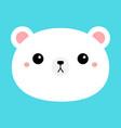white bear cub round face head icon cartoon funny vector image vector image