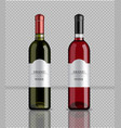 wine bottles realistic product packaging vector image vector image