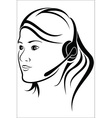 Woman with headset in callcenter vector image