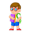 young teenager with school backpack and books vector image