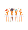 young women of different nationalities standing vector image