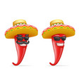 mexican hat red cool hot chili pepper sunglasses vector image