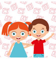 cute little kids boy and girl embrace friends with vector image