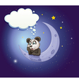 A panda thinking at the crescent moon with an vector image