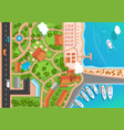 top view of the resort town park road cars sea vector image