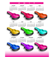 2017 rainbow of nine guitar cases calendar vector image vector image