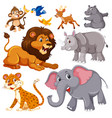 a set of wild animals vector image vector image