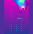 abstract minimal calendar design for 2019 march vector image vector image