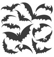 bat silhouette set vector image vector image