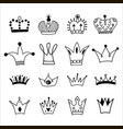big set hand drawn crowns vector image