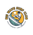 big wave surf club t shirt design surfing poster vector image
