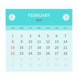 Calendar monthly fabruary 2015 in flat design vector image vector image