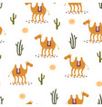 camel cute seamless pattern on white vector image