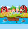 children playing in the field by the river vector image vector image