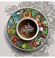 Cup of coffee and hand drawn watercolor summer vector image