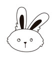 cute face rabbit animal cartoon isolated icon line vector image vector image