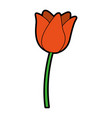 cute orange flower cartoon vector image