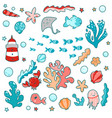 cute sea elements ocean vector image