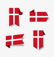 danish flag stickers and labels vector image