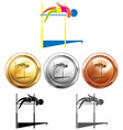 Different medals for high jump vector image vector image