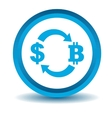 Dollar-bitcoin exchange icon blue 3D
