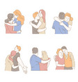 embrace isolated icons men and women hug and vector image