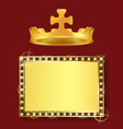 gold frame and royal crown king or queen jewelry vector image vector image