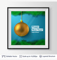 golden decorative toy ball and fir tree border vector image vector image