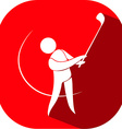 Golf icon on red badge vector image vector image