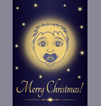 greeting card merry christmas jesus baby face of vector image vector image