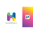 h logo letter with rainbow vibrant beautiful vector image vector image