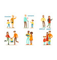 happy big family members set grandma grandpa vector image
