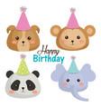 happy birthday card with set cute animals vector image vector image