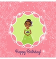 Happy Birthday pink greeting card with princess vector image vector image