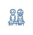 happy children sitting on line icon concept happy vector image vector image