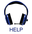 Headphones with text help vector image vector image