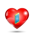 heart icon with a mobile phone vector image vector image
