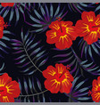 hibiscus red yellow tropical leaves pattern night vector image vector image