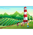Kids playing at the farm with a tower vector image vector image