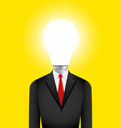 light bulb head businessman vector image vector image