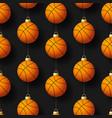 merry christmas basketball seamless pattern hang vector image vector image