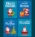 merry christmas greeting card set with santa claus vector image vector image