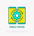 mobile syncing thin line icon vector image