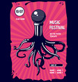 music poster with octopus and microphone rap vector image