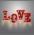 neon 3d word love with lights vector image vector image