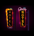 neon hotel sign set vertically text vector image vector image