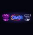 omg neon sign pop art design template vector image